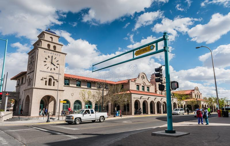 Alvarado Transportation Center - Albuquerque, NM. April 1, 2016 - The Alvarado Transportation Center is a multimodal transit hub in Downtown Albuquerque, New royalty free stock photos