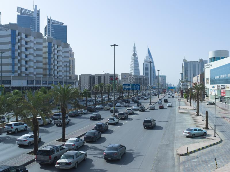 Light Traffic on King Fahad Road. This April Only Around One Million Foreign Workers Have Left Saudi Arabia For Good, Which Explains This Light Traffic on King royalty free stock photo