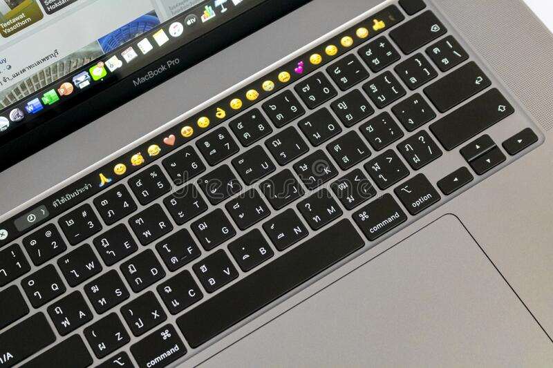 New style of MacBook Pro 2019. April 5,2020 - Bangkok, Thailand: New style of MacBook Pro 2019 keyboard which is produced by Apple company stock images