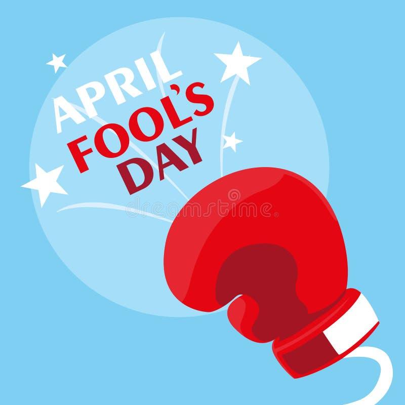 April bedrar dag med boxninghandsken i vår stock illustrationer