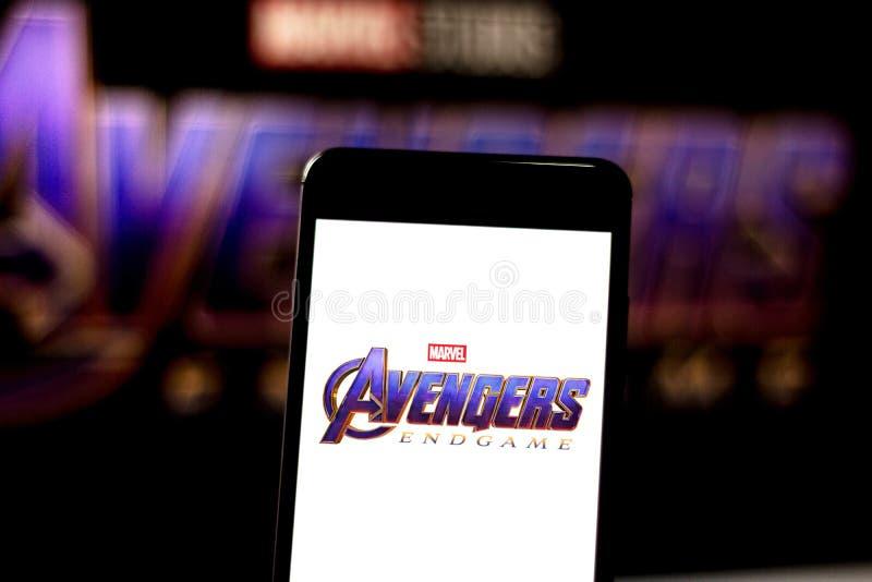 April 3, 2019, Brazil. Avengers Endgame logo on the mobile device screen. Avengers: Endgame is a superhero movie produced by stock photos