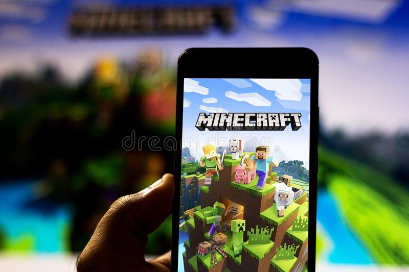 April 2, 2019, Brazil. Minecraft logo on Android mobile device. Minecraft is an open-world, independent, sandbox-style electronic stock photos