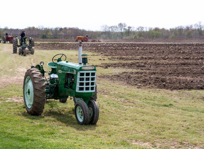 Tractors on display and working royalty free stock image