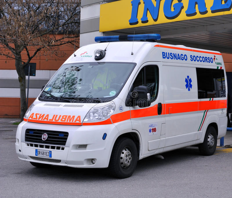 Ambulance in Italy. April 1, 2013, Busnago: An ambulance parked at a hypermarket. Busnago Emergency provides the Emergency Medical Service in the region Lombardy stock photography