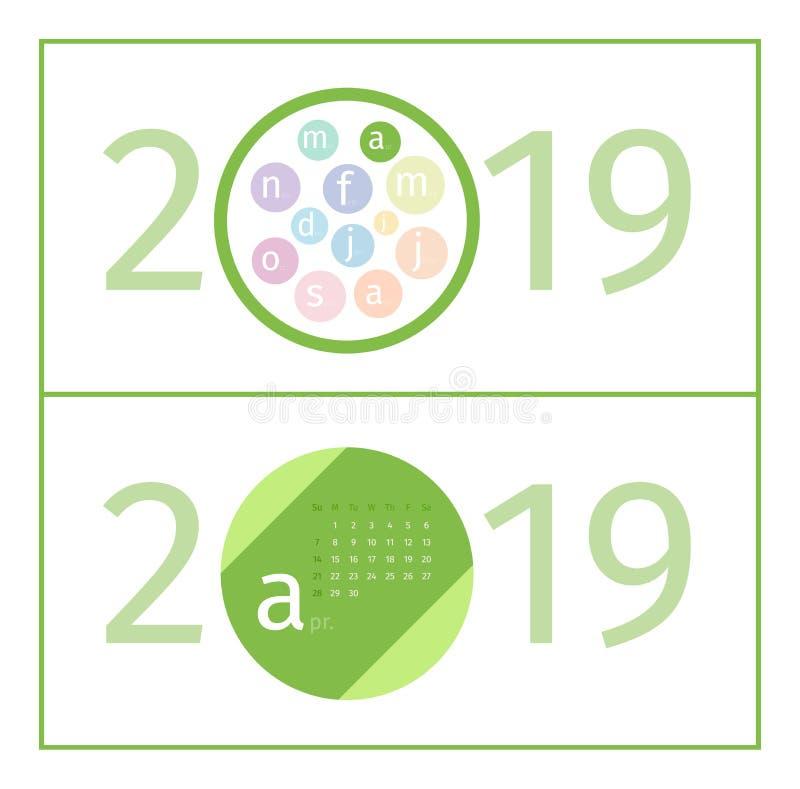 April Calendar Page Template 2019 stock abbildung