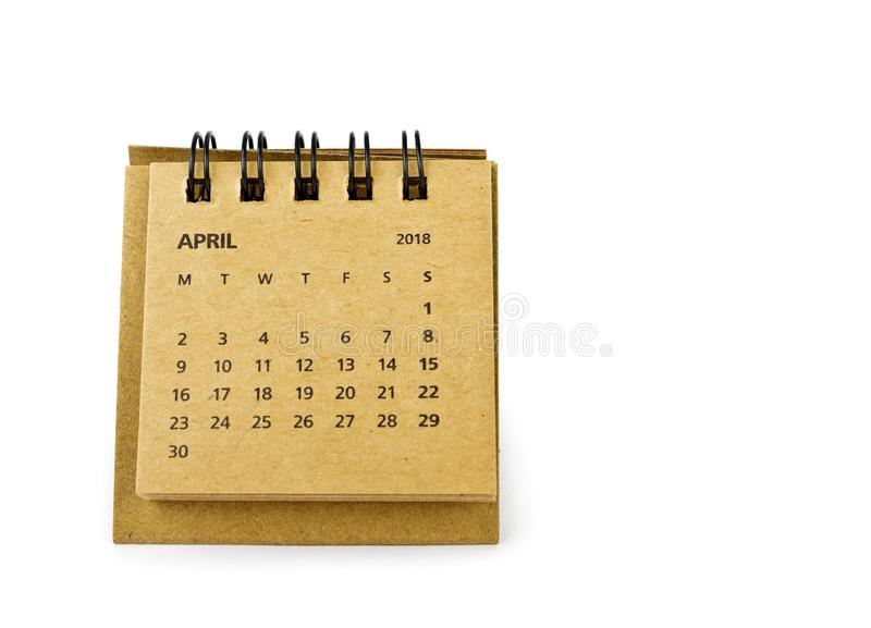 April. Calendar sheet on white. April. Calendar sheet. Two thousand eighteen year calendar on white background stock photo