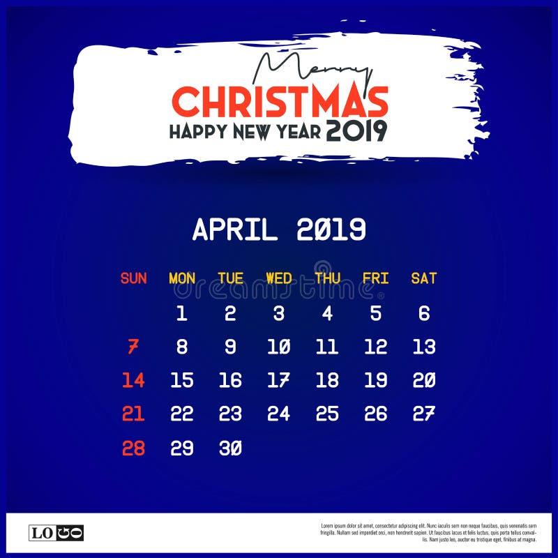 April Calendar Template 2019 Blauhintergrund der frohen Weihnachten und des guten Rutsch ins Neue Jahr lizenzfreie abbildung