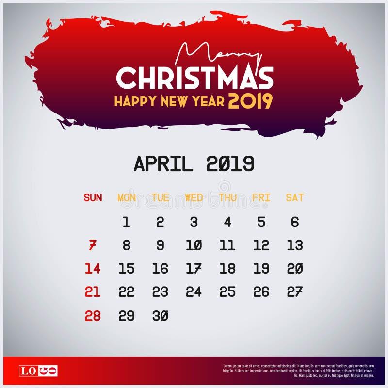 April Calendar Template 2019 frohe Weihnacht-und guten Rutsch ins Neue Jahr-roter Titelhintergrund stock abbildung