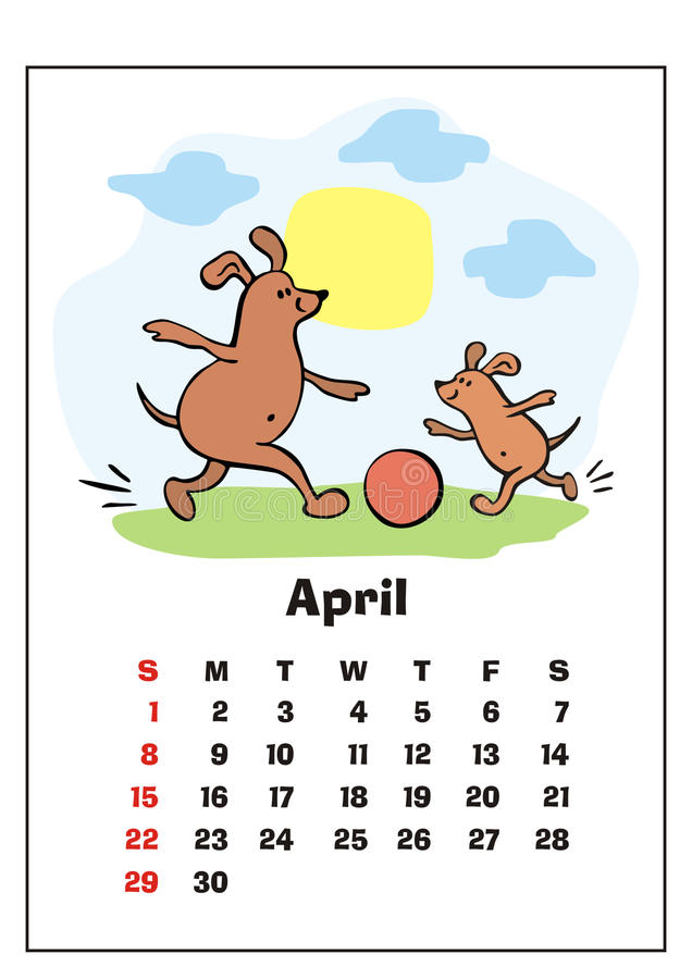 April 2018 calendar vector illustration