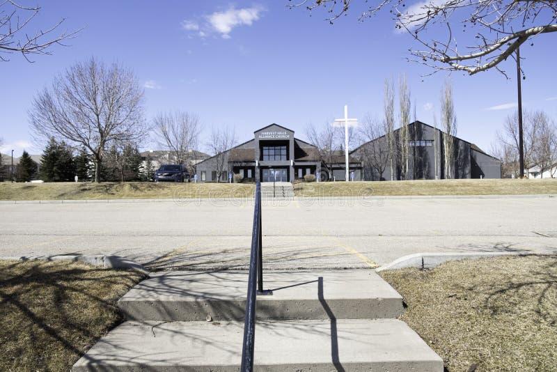 April 2020 - Calgary, Alberta Kanada - Harvest Hills Alliance Church arkivbilder