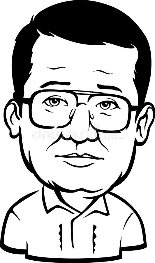 April 17, 2017: A Caricature of the late Senator of the Philippines, Benigno `Ninoy` S. Aquino Jr. Isolated on white background. Isolated illustration of stock illustration
