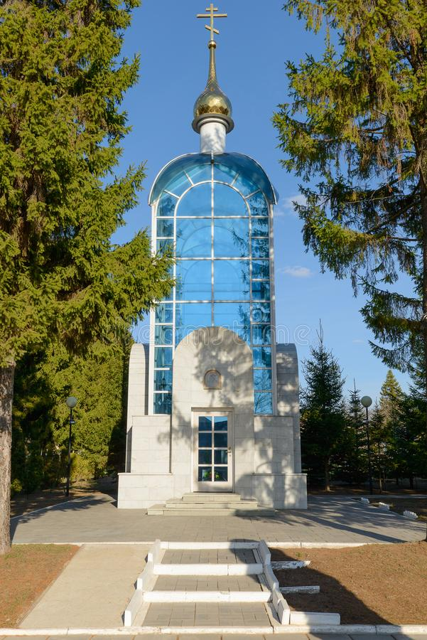 Chapel where the third cosmonaut in the world Andrian Nikolayev is buried. Village Shorshely. Russia. April 21, 2019: Chapel where the third cosmonaut in the royalty free stock images