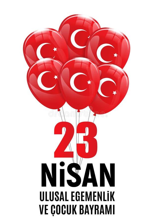 23 April Children-` s Tagtürkischen sprechen: 23 Nisan Cumhuriyet Bayrami Auch im corel abgehobenen Betrag stock abbildung