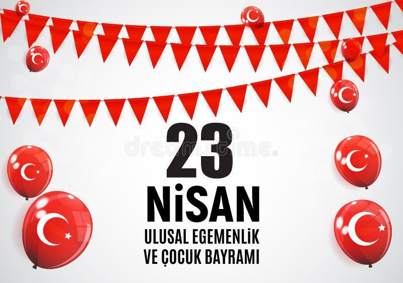23 April Children-` s Tagtürkischen sprechen: 23 Nisan Cumhuriyet Bayrami Auch im corel abgehobenen Betrag vektor abbildung
