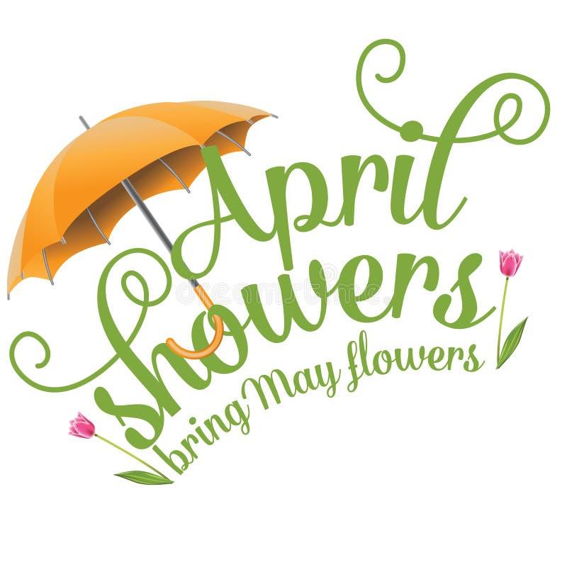 April-de douches brengen Mei-bloemenontwerp vector illustratie