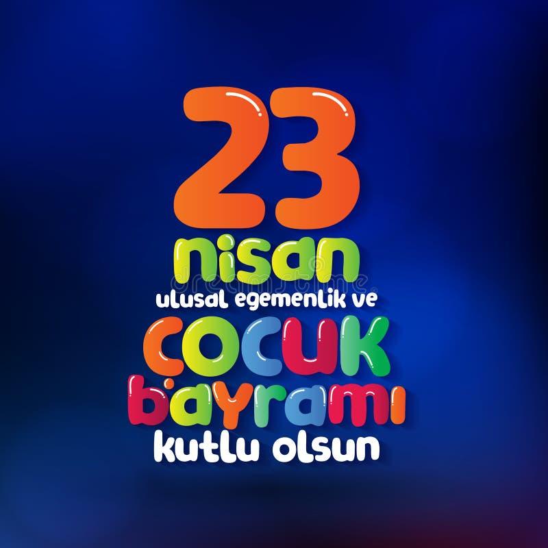 23 april de Nationale Soevereiniteit en Dag van Kinderen Aanplakbord, Affiche, Sociale Media, het malplaatje van de Groetkaart Tu stock illustratie