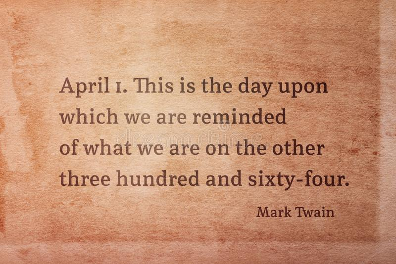 April eerste Twain royalty-vrije stock fotografie