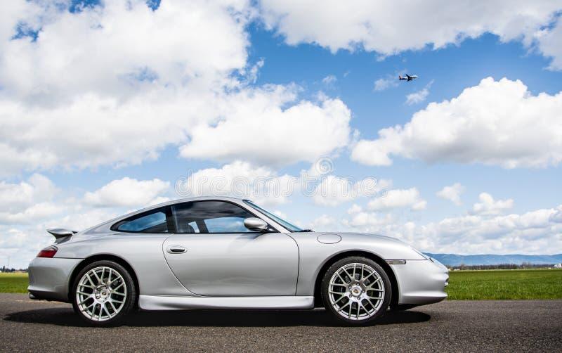 April 2, 2018 Eugene Oregon - A silver Porsche 911. royalty free stock photo