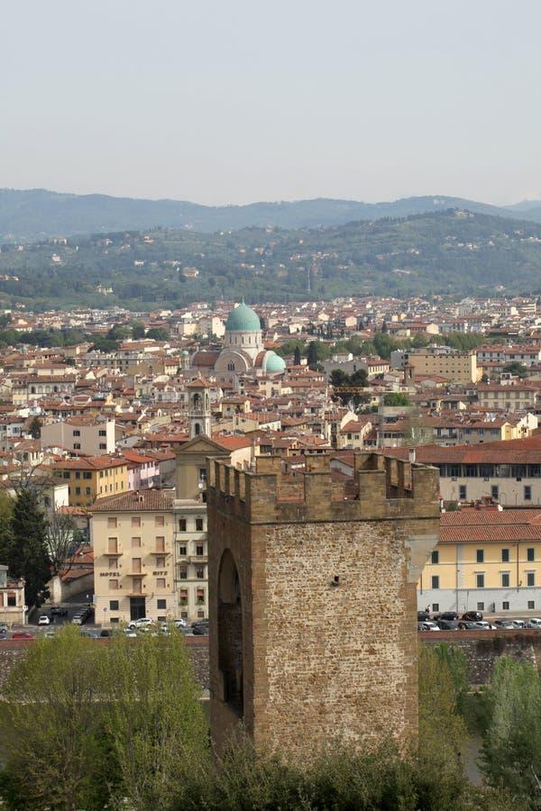 April 22 2019, Florence, Italien: den judiska synagogasikten fr?n ?ver med kopieringsutrymme f?r din text royaltyfria foton