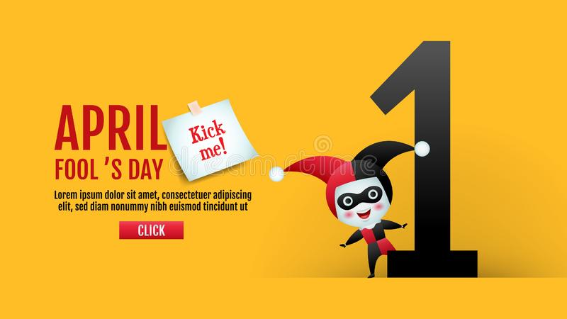 April fool`s day, Typography, Colorful, vector illustration. April fool`s day, Typography, Colorful, vector illustration, cartoon character, cute royalty free illustration