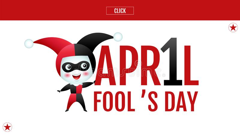 April fool`s day, Typography, Colorful, vector illustration, cartoon character, cute. Calendar vector illustration