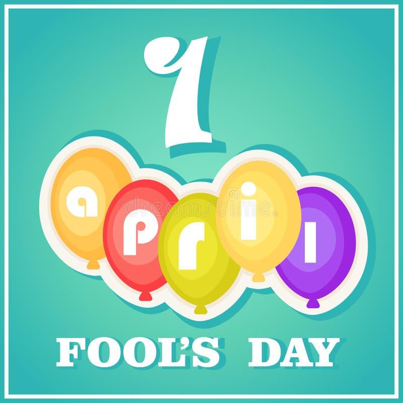 April Fool-` s Tag Postkarte mit den Ballonen, Guss und Zahl lokalisiert gegen einen blauen Steigungshintergrund vektor abbildung
