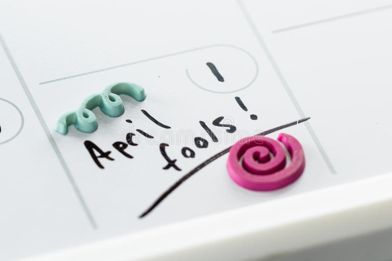 April fools on a calendar. The words April fools marked on a day planner as a special occasion stock images