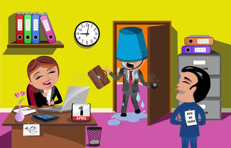 April Fools Day Bucket Water fallande ofogkontor royaltyfri illustrationer