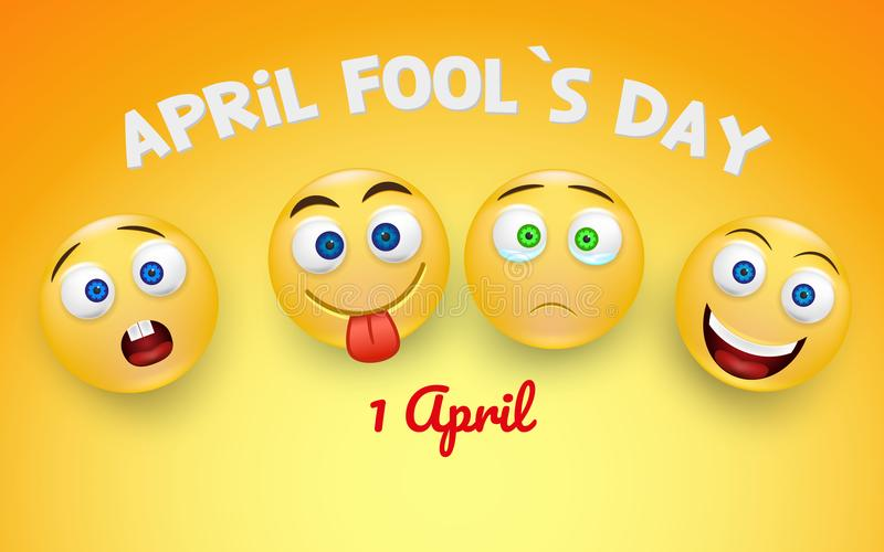 April fools day card with happy and sad face emojis over bright background. 1 April. Colorful desing. royalty free illustration