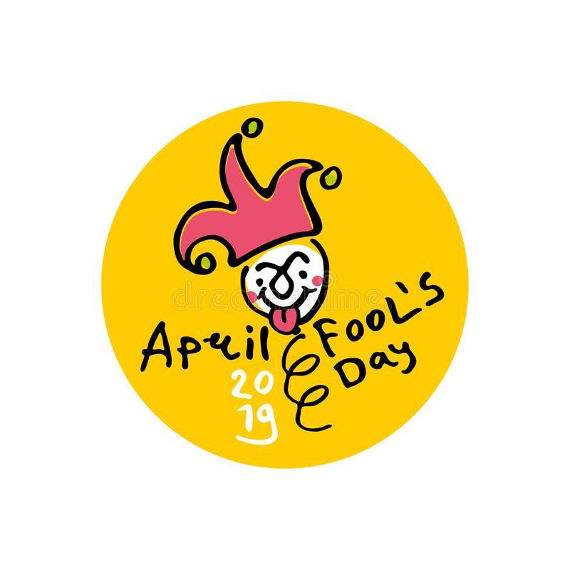 April Fools Day. 2019. Cartoon style graphics marker drawn. Logo on a round yellow sticker with a jester on a spring. Handwritten logo for fool`s day. Vector vector illustration