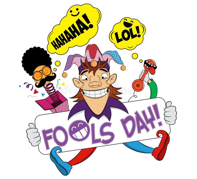 April fools day with cheerful jester. First april fools day surprise box with face comic. Illustration of a joker. April Fools Day royalty free illustration