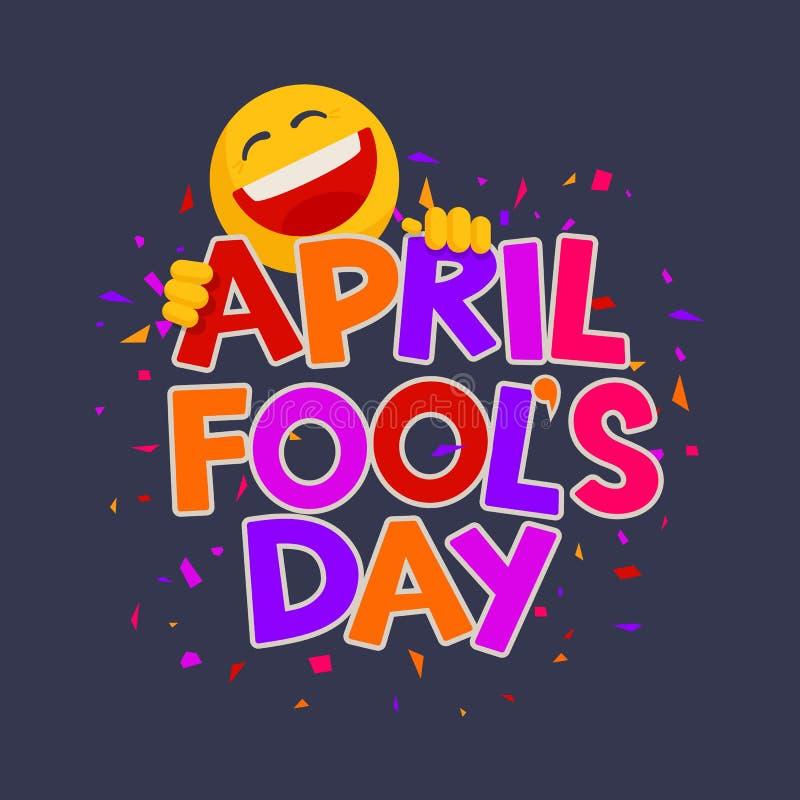 April Fools Day design med text och skrattasmiley stock illustrationer