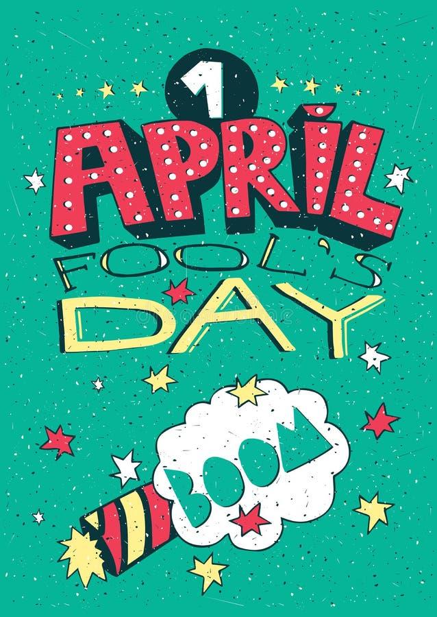 1 April Fools Day greeting card vector illustration