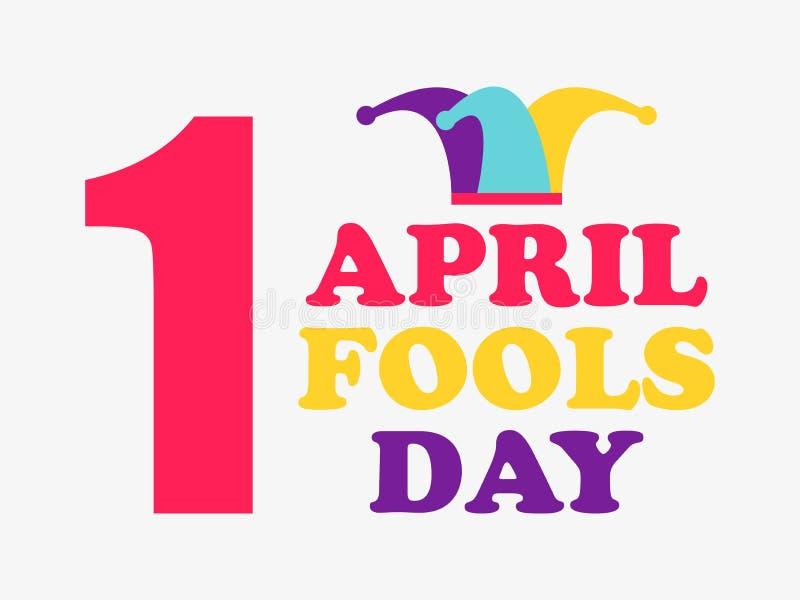 1 April Fools Day Gyckelmakarehatt Färgrik design vektor vektor illustrationer