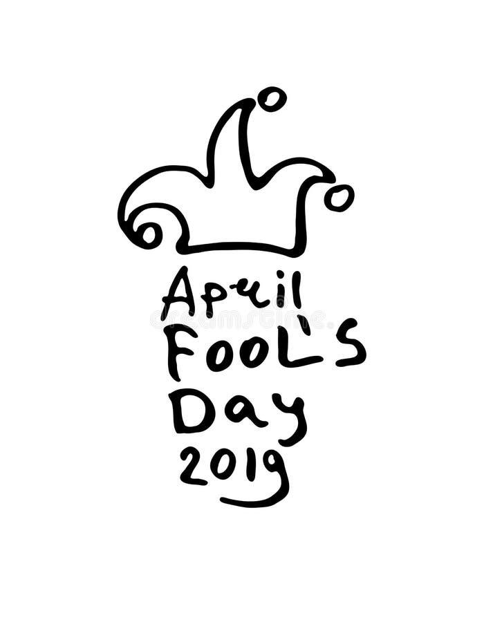 April Fools Day 2019 Het embleem van de beeldverhaalstijl met narrenhoed met klokken stock illustratie
