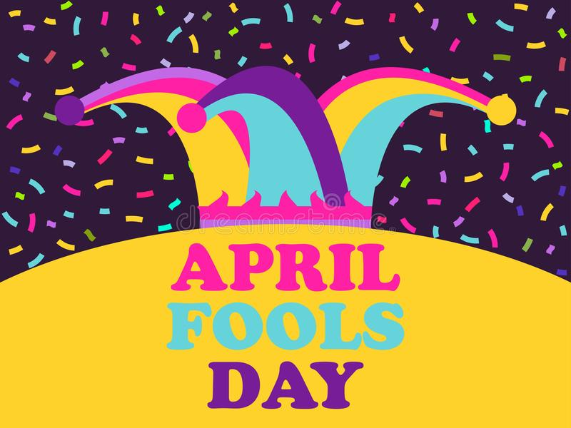 April Fools Day. Jester hat and confetti. Greeting card, colorful design. Vector stock illustration