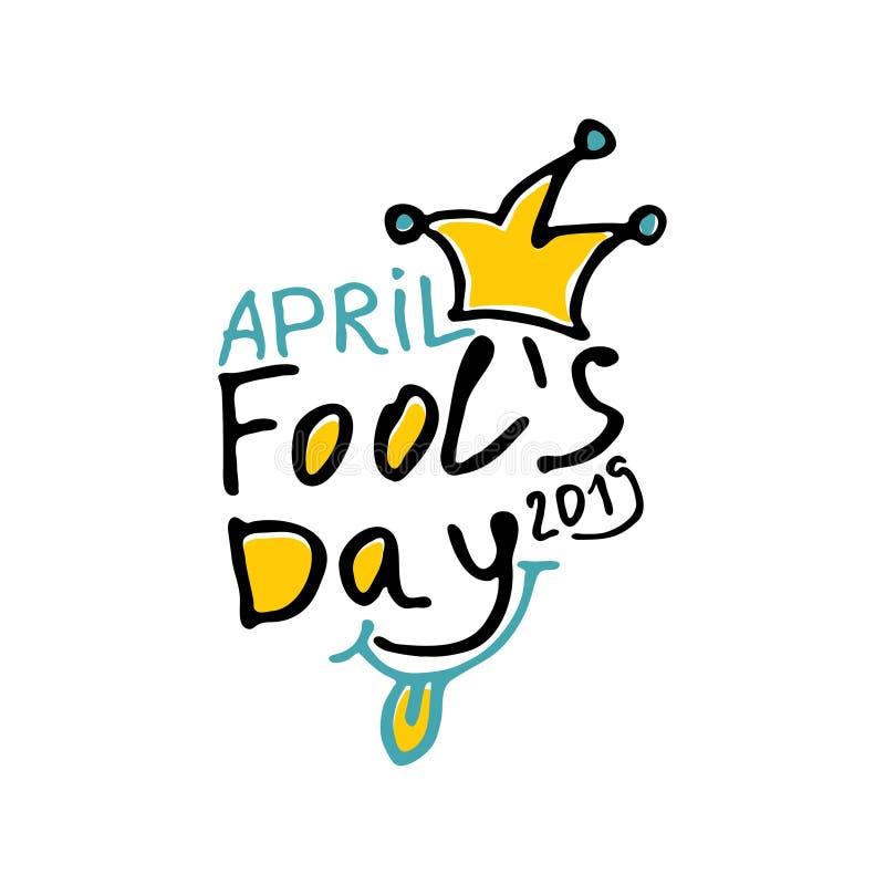 April Fools Day 2019 Logotipo do estilo dos desenhos animados com o chapéu do bobo da corte com sinos ilustração royalty free