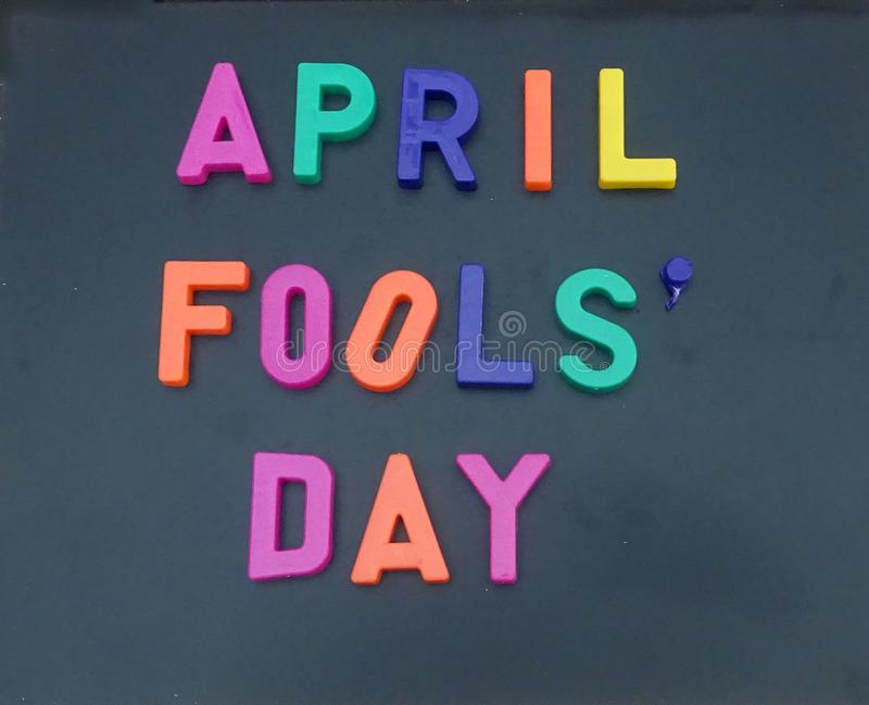 April fools day sign. On a chalkboard royalty free stock photography