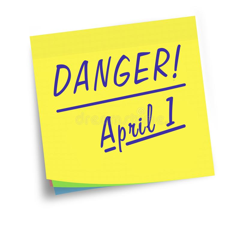 April Fools Day. Sticky note reminder, warning. stock image