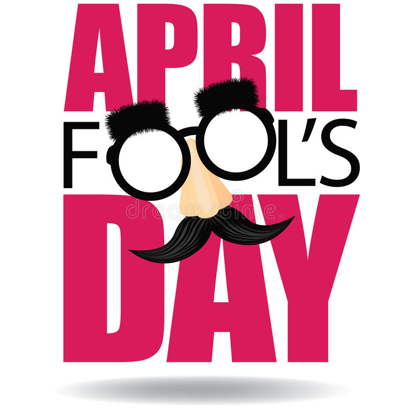 April Fools Day text and funny glasses EPS 10 vector stock illustration