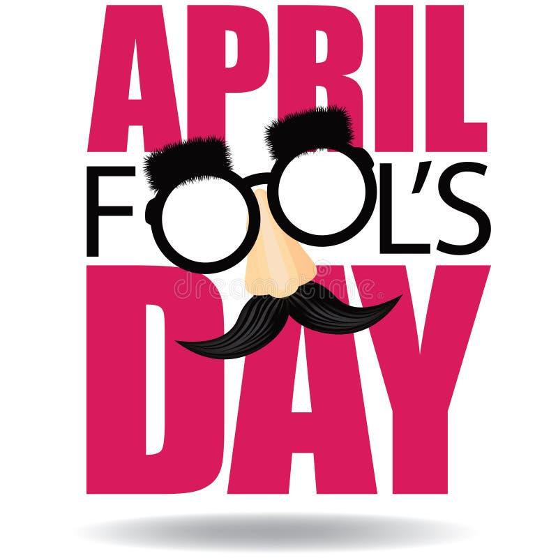 April Fools Day-Text und lustiger Vektor der Gläser ENV 10 stock abbildung