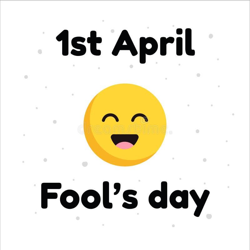 April Fools Day typografisch mit Lächelngesichtsdesign auf weißem Hintergrund vektor abbildung