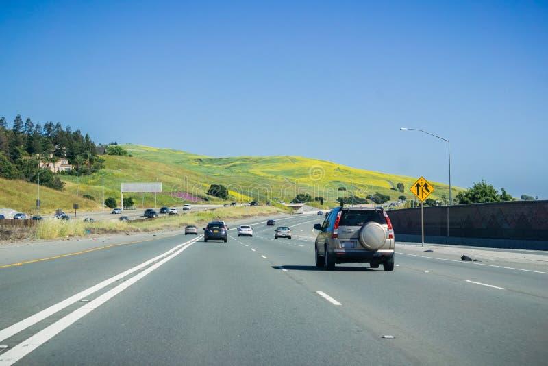 April 30, 2017 - Fremont/CA/USA - köra på motorvägen till och med kullar som täckas i vildblommor i södra San Francisco Bay områd royaltyfria foton