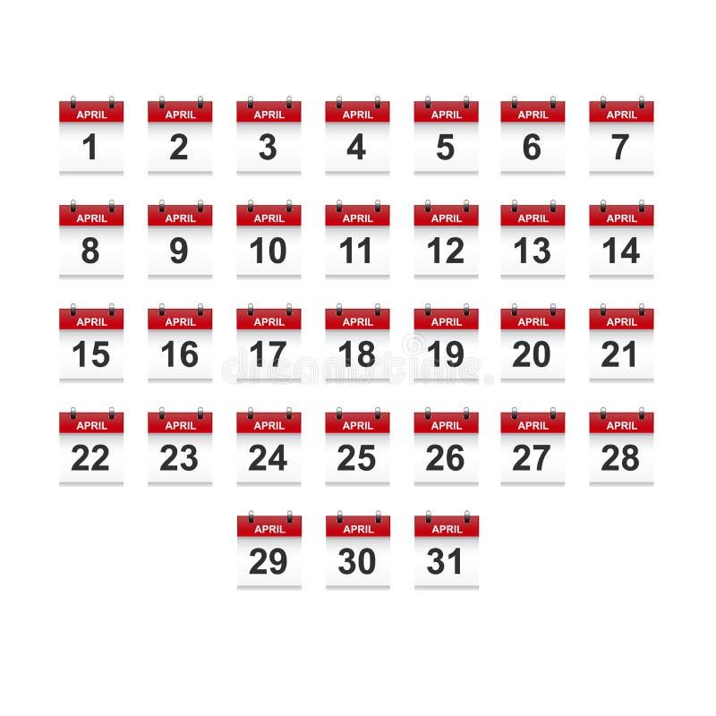 April-het vectorart. van de kalender 1-31 illustratie royalty-vrije illustratie