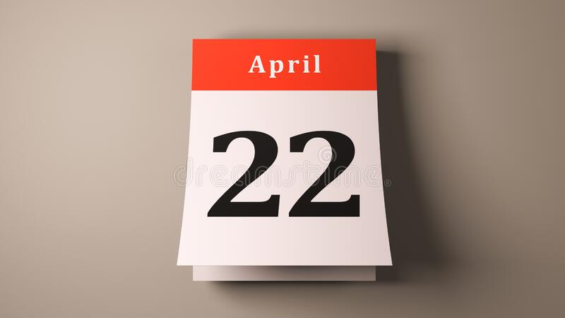 April 22 International Earth Day calendar pages holiday royalty free stock photo