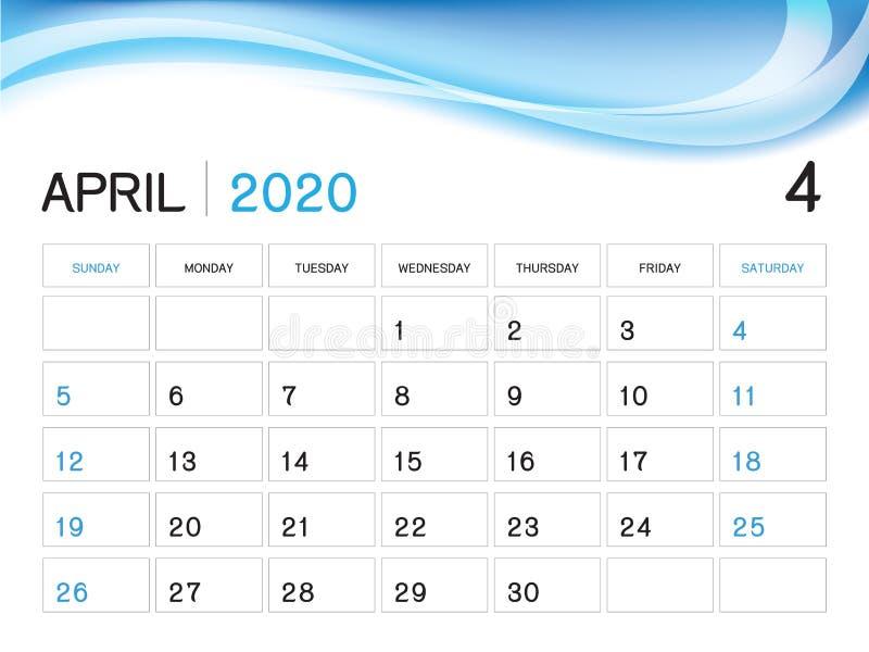 APRIL 2020 Jahr-Schablone, Kalender-2020 Vektor, Tischkalender-Entwurf, Wochen-Anfang am Sonntag, Planer, Briefpapier, Drucken vektor abbildung
