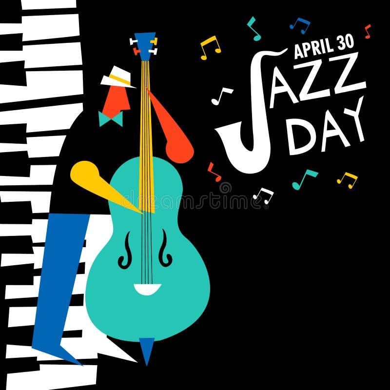 30. April Jazz Day-Karte des Bass-Spielers im Konzert vektor abbildung