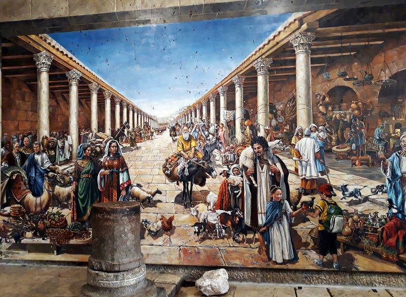 10 april 2018, Jerusalem, Israel En mosaik som inspirerades av de Ravenna mosaikerna, avtäckte i den judiska fjärdedelen av Jer royaltyfri bild
