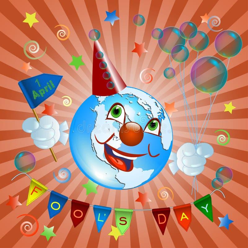 April 1 Jorden i clowndräkt royaltyfri bild