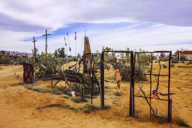April 7, 2017 - Joshua Tree, California, USA: Noah Purifoy`s Outdoor Desert Art Museum in Joshua Tree, California, United States. Cloudy day stock photos